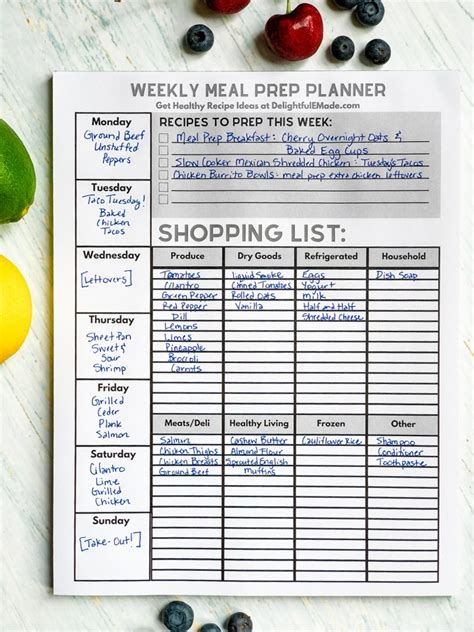 Magnetic Shopping List Tear Pad   With Weekly Meal Planner!