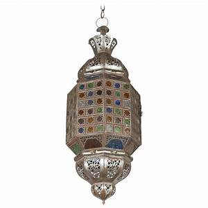 Moroccan hand crafted light fixture with multicolor glass