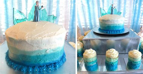 frozen birthday cake  ombre frosting  sisters