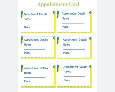 appointment card templates  microsoft word