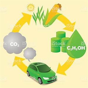 Biofuel Life Cycle Biomass Ethanol Diagram Illustration