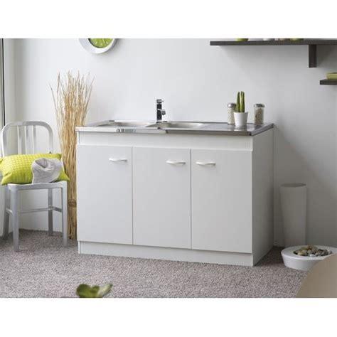 meuble cuisine sous evier 120 cm meuble sous évier cosmos 3p blanc l120 cm achat vente