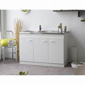 meuble sous evier 3 portes achat vente pas cher With meuble bas de cuisine 120 cm 6 meubles sous evier comparez les prix pour professionnels