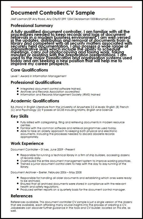 Controller Resume Template Word by Document Control Resumes Paralegal Resume Sle