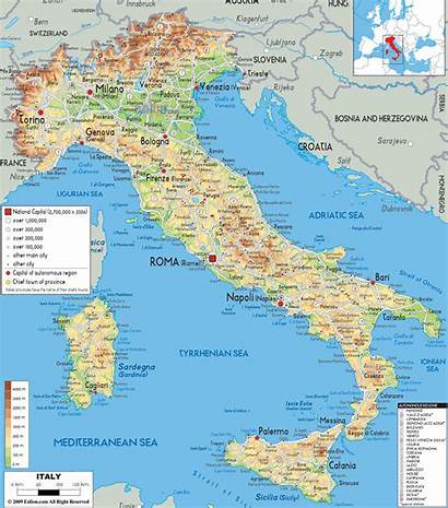 Italy Maps Map Physical Italia Interest Maptime