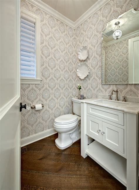 wallpaper in bathroom ideas small powder room ideas powder room traditional with crown