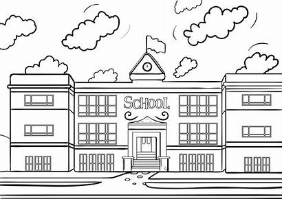 Coloring Pages Drawing Schoolhouse College Printable Buildings