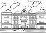 Coloring Pages Schoolhouse Colouring Printable Building Buildings Pdf Drawing Clipart Coloringcafe Architecture Sheets Sheet Houses Template Cartoon Transparent Sekolah Gambar sketch template
