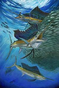 Sailfish With A Ball Of Bait Painting by Terry Fox