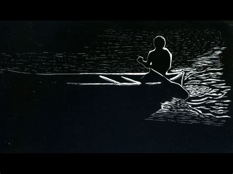 canoe man scratchboard  black paper drawing black