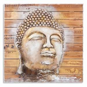 3D Holz Wandbild BUDDHA HEAD 92x92cm Acryl Handgemalt 6350