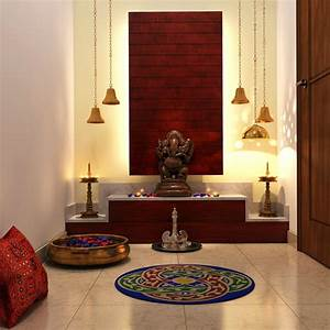 Chic lighting, colorful add-ons complete this Pooja room