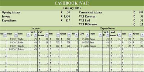 cash book vat excel template exceldatapro