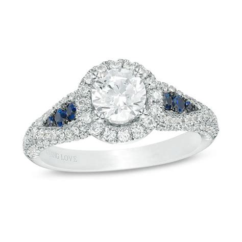 vera wang love collection 1 23 ct t w diamond and blue sapphire frame petal sides engagement