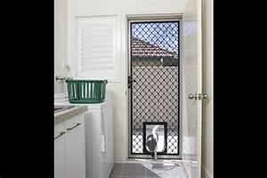 standard decorative diamond grille screen doors With standard door with dog door