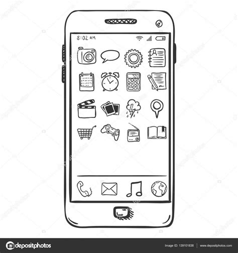 sketchbook mobile sketch smartphone with mobile icons stock vector