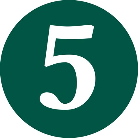 Green Number 5  Clipart Best