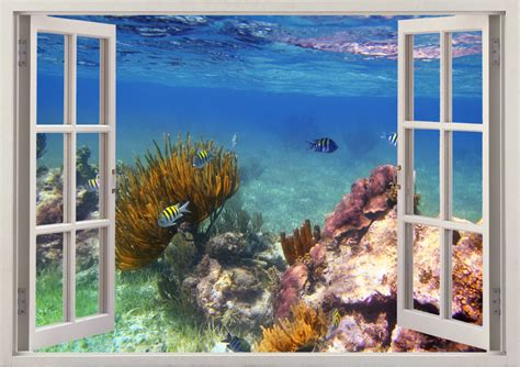 3d Window Ocean View Blue Sea Home Decor Wall Sticker: Underwater Wall Decal Coral Reef Fishes 3D Window Reef Fish
