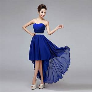 high low royal blue bridesmaid dress crystal high waist With blue dresses for wedding