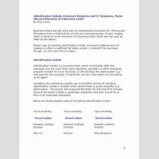 Identification Initials, Enclosure Notations And Cc Notations In A Business Letter