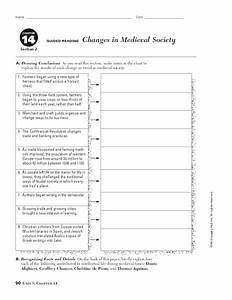 Changes In Medieval Society Worksheet For 9th