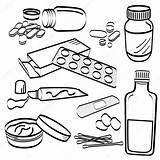 Tablet Medicine Pill Doodle Medical Coloring Pills Geneeskunde Pil Medische Stockillustratie Tablets Cream Template Sketch Depositphotos sketch template