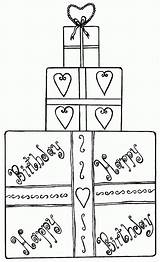 Coloring Birthday Gift Box Pages Present Gifts Boxes sketch template