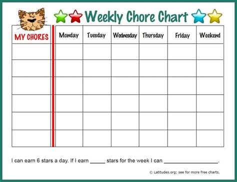 weekly chore chart free weekly chore chart tiger acn latitudes