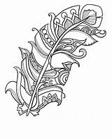Feather Funky Coloring Coloringpages Printable Adults Therapy sketch template