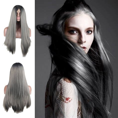 Dark Gray 2 Tones Black Root Synthetic Lace Front Wig Heat