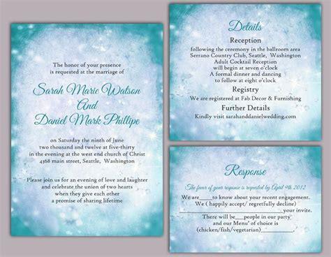 diy wedding invitations blue diy rustic wedding invitation template set editable word