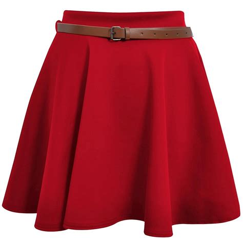 Ladies Skater Skirt Womens Belted Flared Plain Mini Skirt