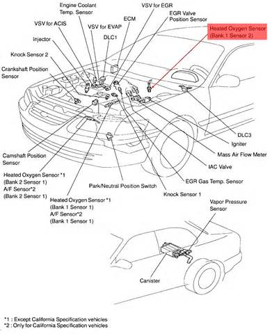toyota address which oxygen sensor and where is it located when code