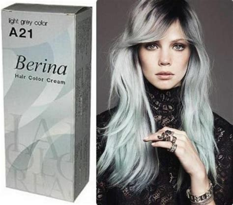 Berina Light Grey Silver Hair Color Cream Permanent Hair