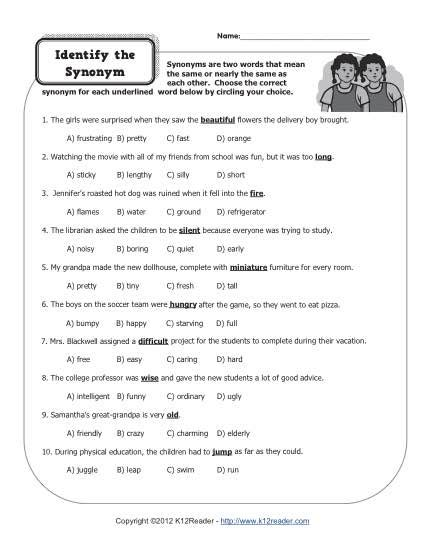 identify the synonym 4th grade worksheets
