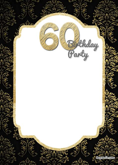 60th Birthday Invites Free Template by Free Printable 60th Birthday Invitations Template