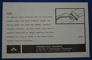 Strombecker Road Racing 1 32 Scale Slot Car Paperwork Special Wiring Instructions