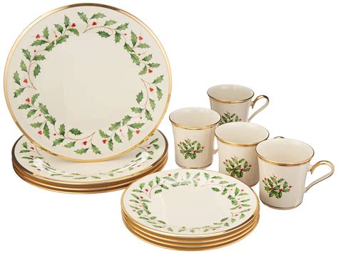 dinnerware christmas holiday lenox pattern leaf piece table fabric holly china batsdeals kitchen yl ratings category