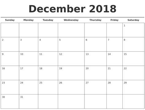 Free Calendar Template December 2018 Free Calendar Template