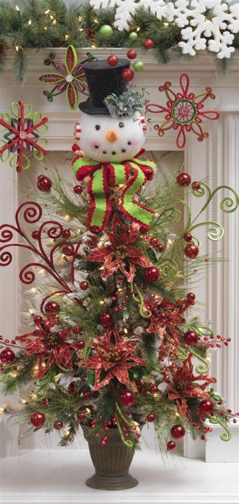 whimsical christmas tree ive got to do this christmas wreaths pinterest snowman christmas trees christmas trees