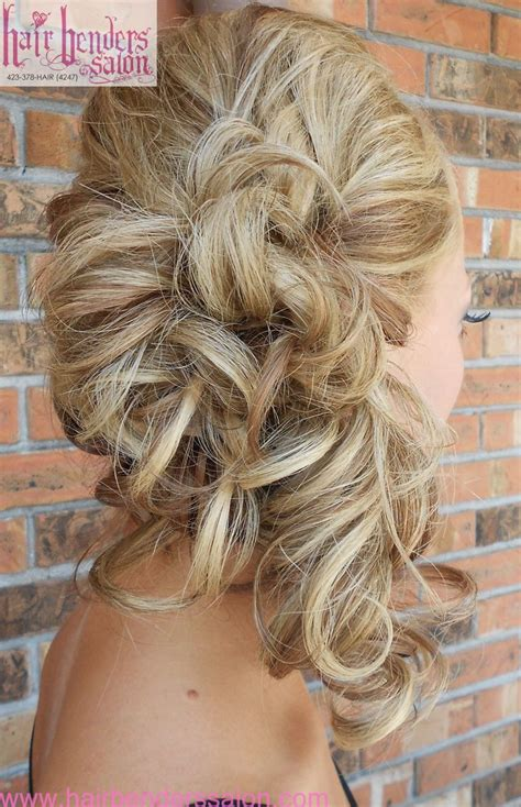 curls pinned  side side ponytail wedding hairstyles