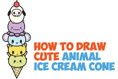 How To Draw Cute Kawaii Animals Stacked In Ice Cream Cone Easy Step
