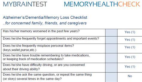 alzheimers dementia symptom checklist quiz mybraintest
