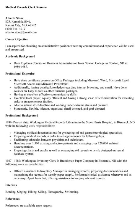 general resume 187 records clerk resume cover