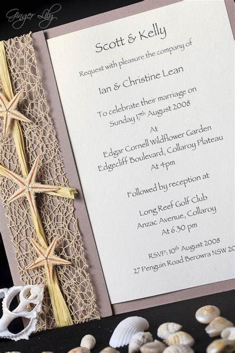 beach wedding invitation diy kit urban starfish natural
