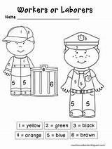 Labor Number Kindergarten Preschool Crafts Community Fun Word Worksheets Activities Sheets Workers Visit Activity Social Themes sketch template