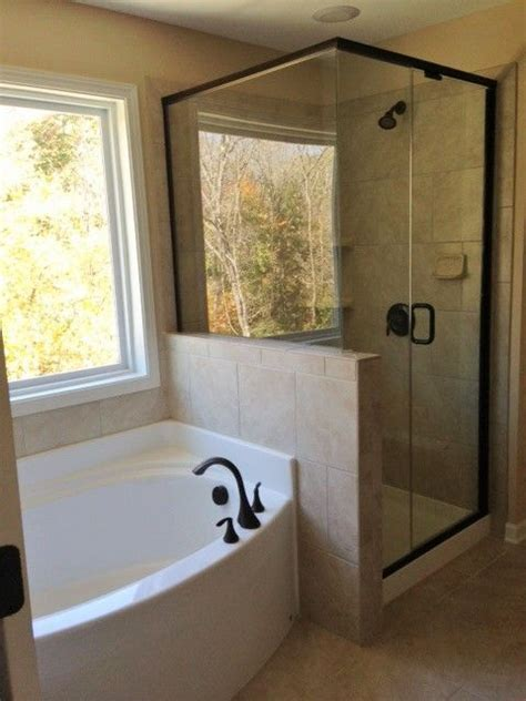 master bath  semi frameless shower separate garden