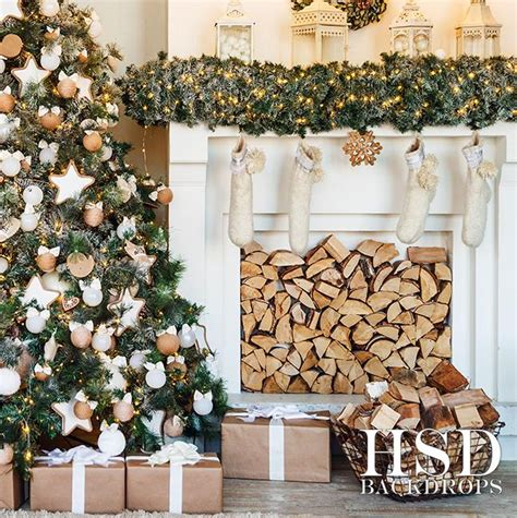 christmas tree fireplace photography backdrop christmas