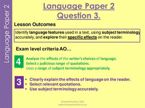 aqa  specication gcse english language paper  question  practice lesson teaching resources