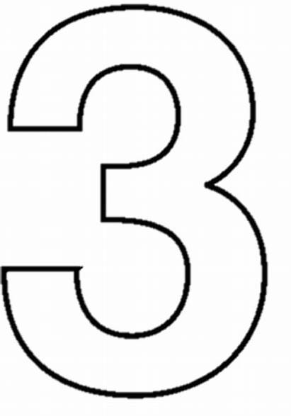 Number Clipart Coloring Three Clip Outline Pages